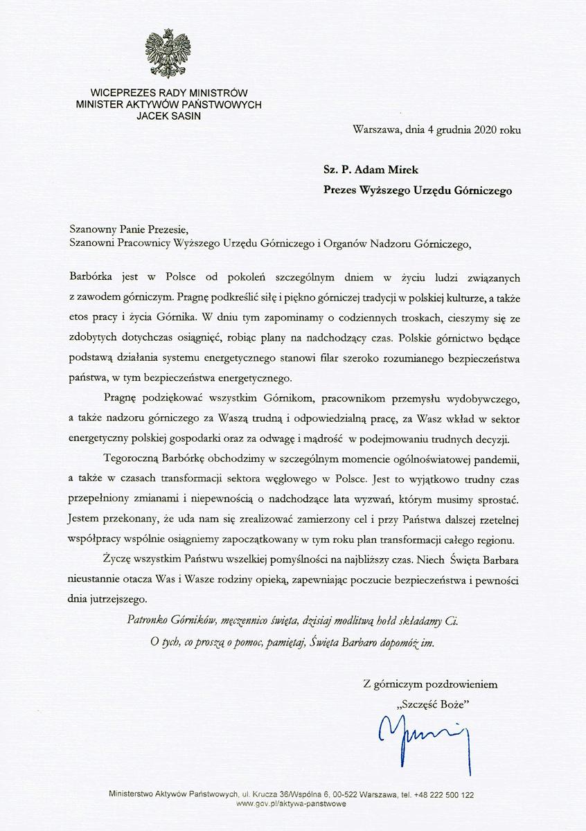 Życzenia wicepremiera Rady Ministrów, ministra aktywów państwowych z okazji Barbórki