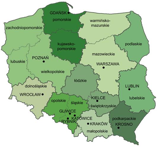 Mapa właściwości miejscowych okręgowych urzędów górniczych w Polsce
